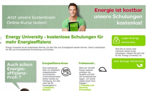 Man kann für seine Weiterbildung im Bereich Energieeffizienz bezahlte Schulungen besuchen oder auch einfach direkt zu Schneider Electric gehen. (Screenshot: schneider-electric.de)