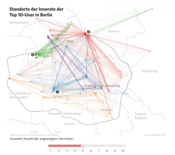 Datenjournalismus: Studenten FH Potsdam untersuchen die Auswirkungen von Airbnb auf den Berliner Wohnungsmarkt. (Screenshot: airbnbvsberlin)