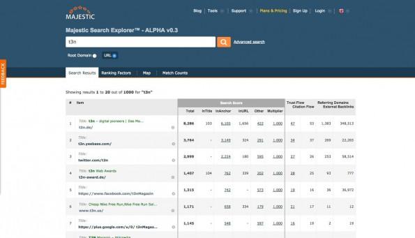 Majestic ist eine Suchmaschine für SEOs. (Screenshot: Majestic)