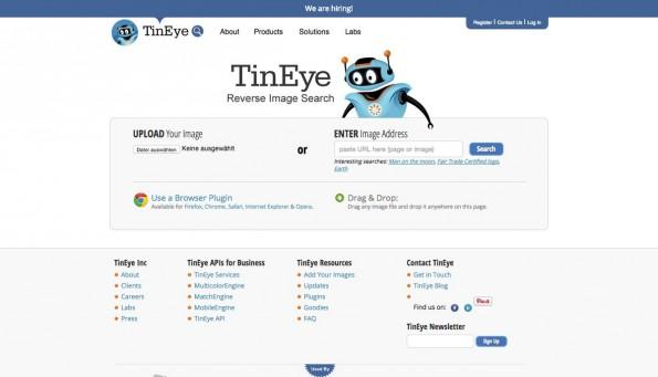 Google-Alternative: TinEye sucht anhand von Bildern nach Webseiten auf denen diese Bilder vorkommen. (Screenshot: TinEye)