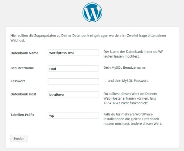 """Die letzte """"Hürde"""" vor dem Start der WordPress-Installation ist die Eingabe der MySQL-Daten. (Screenshot: eigene WordPress-Installation)"""