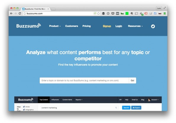 (Screenshot: t3n/ Buzzsumo)