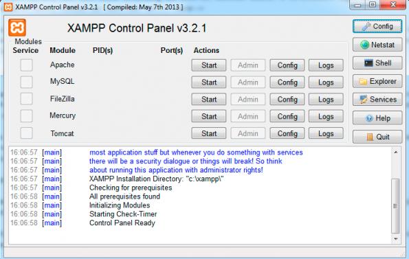 Das Control Panel von XAMPP. (Screenshot: eigene XAMPP-Installation)
