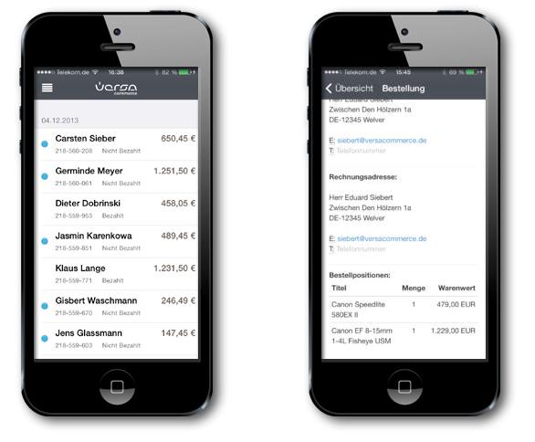 Aus der VersaCommerce Multi-Channel-App: In der Übersicht links siehst du den Kundennamen und den Bestellwert und rechtsdie Details zu jeder Bestellung. (Screenshot: versacommerce.de)