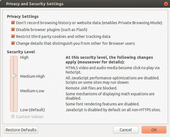 Der Security-Slider gibt eine nutzerfreundliche Möglichkeit das Sicherheitslevel auf ein hohes und weniger hohes Niveau zu stellen. (Screenshot: torproject.org)