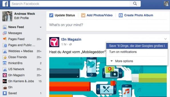 Versteckte Facebook-Funktionen: Bookmarks. (Screenshot: Andreas Weck)