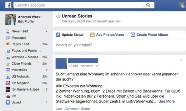 Versteckte Facebook-Funktionen: Missed Stories. (Screenshot: Andreas Weck)