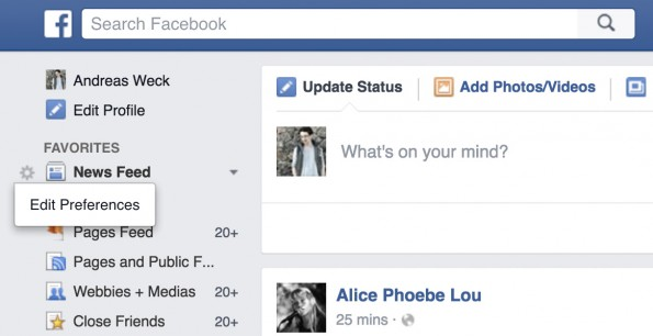 Versteckte Facebook-Funktionen: Newsfeed-Präferenzen einstellen. (Screenshot: t3n.de)