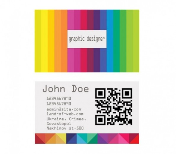 Visitenkarten - Colorful Striped Business Card Template Set PSD