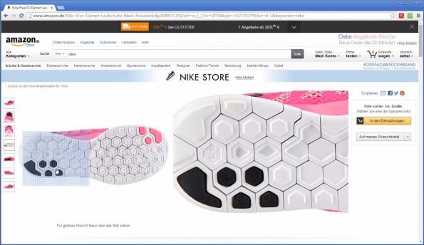 Die großen Händler legen vor: Features wie etwa eine Bilder-Zoomfunktion gehören mittlerweile zum Standard und sollten auch in deinen Shop implementiert sein. (Screenshot: amazon.de)
