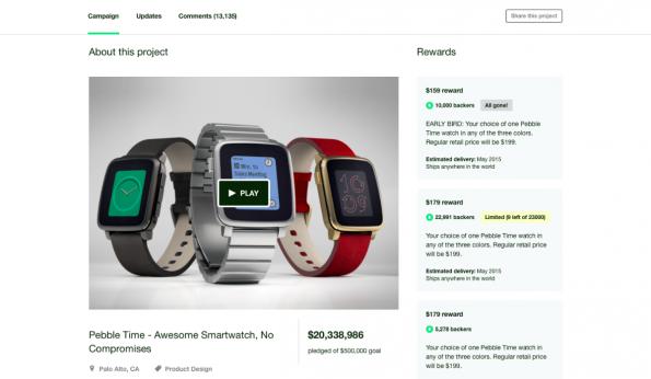 Erfolgreiche Kickstarter-Kampagnen wie die Smartwatch Pebble sind künftig auch in Deutschland möglich. (Screenshot: t3n))