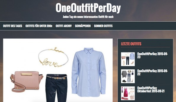 Jeden Tag eine neue Kleidungsvariation für modebewusste Frauen. (Screenshot: OneOutfitPerDay.de)