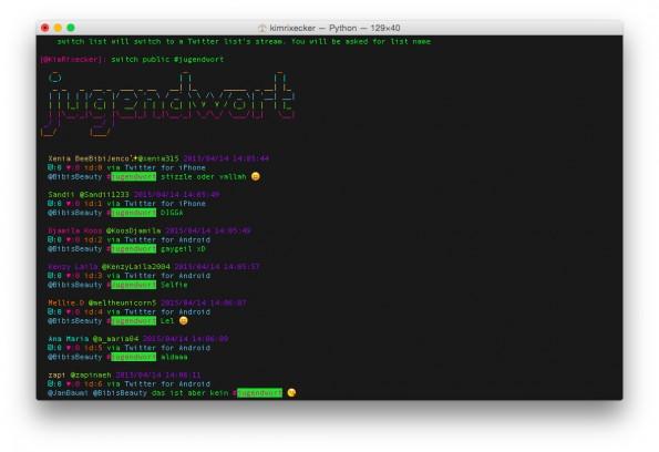 Rainbowstream: Schicker Twitter-Client für Terminal-Junkies. (Screenshot: Rainbowstream)