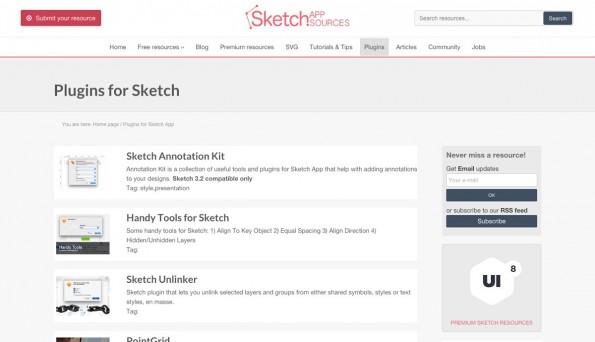 Auf Sketch App Sources findet ihr auch Plugins. (Screenshot: Sketch App Sources)