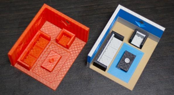 """Im Vergleich: ein einfarbiges Modell (l.) und ein mehrfarbiges Modell, welches mithilfe von """"The Palette"""" erzeugt wurde. (Quelle: Kickstarter.com)"""