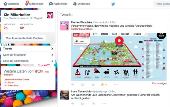 Eine Twitter-Liste, die die eigenen Mitarbeiter enthält, zeigt, was das Team so interessiert. (Screenshot: Andreas Weck)