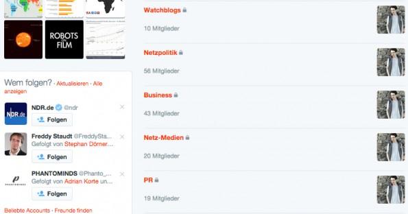 Themen-Listen auf Twitter beispielsweise anhand einiger Ressorts. (Screenshot: t3n.de)