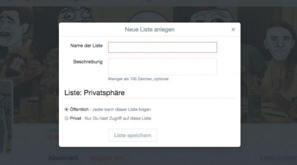 Sobald ihr eine Twitter-Liste anlegt, könnt ihr sie öffentlich oder privat schalten. (Screenshot: Andreas Weck)