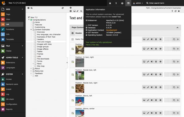 Seit TYPO3 CMS 7.2 lassen sich die wichtigsten Systeminformationen mit einem Klick einblenden. (Screenshot: TYPO3.org)