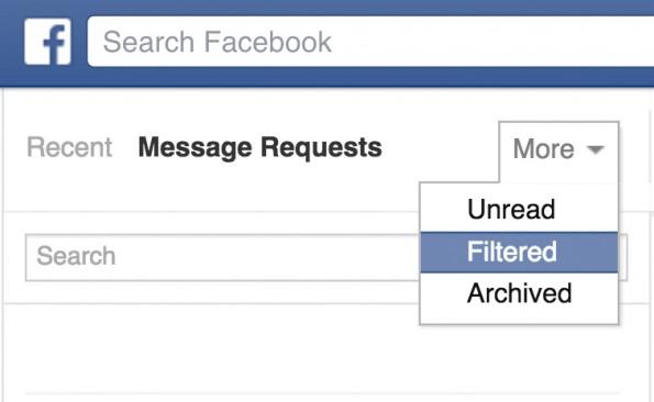 Versteckte Facebook-Funktionen: Gefilterte Nachrichten. (Screenshot: t3n.de)
