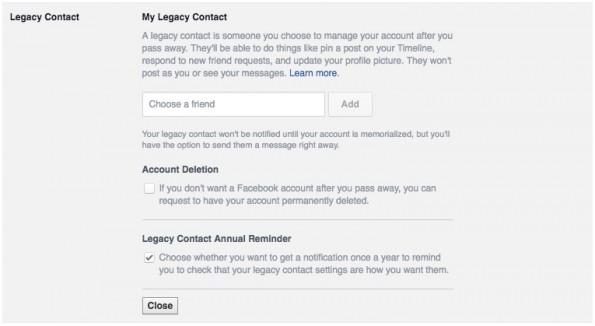 Versteckte Facebook-Funktionen: Nachlasskontakt bestimmen. (Screenshot: t3n.de)