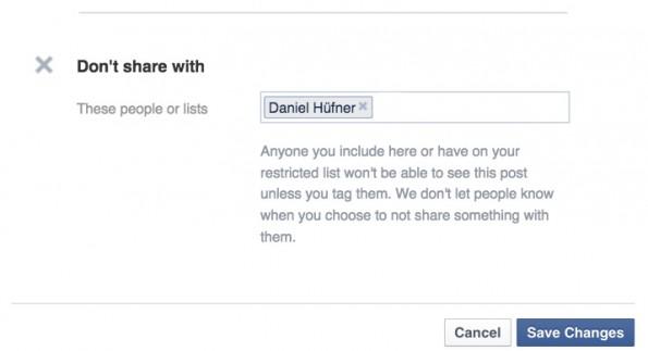Versteckte Facebook-Funktionen: Ausschließen. (Screenshot: t3n.de)