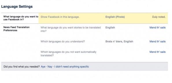 Versteckte Facebook-Funktionen: Piraten-Sprache auswählen. (Screenshot: t3n.de)