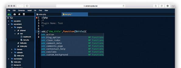 Entwicklungsumgebung für WordPress-Entwickler: WPide.net 2.0 verfügt über ein überarbeitetes Nutzerinterface. (Screenshot: WPide.net)