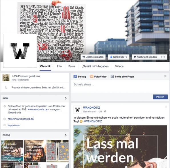 Der Onlineshop wandnotiz.de zum Beispiel ist auch bei Facebook verteten. (Screenshot: http://www.facebook.com/wandnotiz)