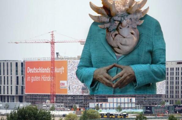 Den Blick hat Richfield drauf – Angela Merkel als machthungriger Dinosaurier der Politik. (Grafik: Merkelraute.tumblr.com)