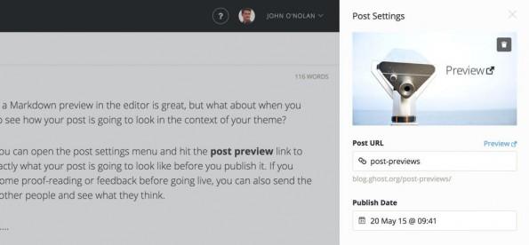 Seit Ghost 6.0.3 ist es möglich, sich eine Vorschau eines Beitrags anzeigen zu lassen. (Screenshot: ghost.org)