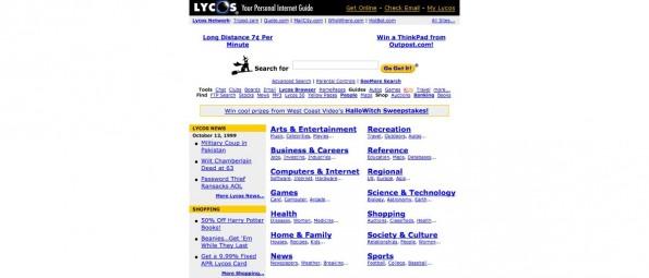 Lycos war eine sehr beliebte Suchmaschine in den 1990er Jahren. (Screenshot: Archive.org / Lycos.com)