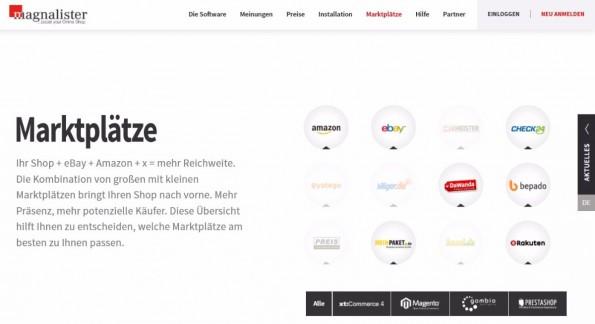 Mit dem Magnalister lassen sich zum Beispiel PrestaShop, Magento und gambio an die unterschiedlichsten Marktplätze anbinden (Screenshot: Magnalister.de)