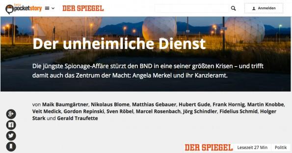 """Printartikel vom Spiegel: """"Der unheimliche Dienst"""" ist für 1,99 Euro auf Pocketstory erhältlich. (Screenshot: Pocketstory)"""