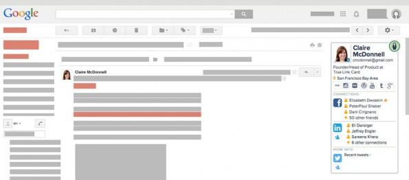 Discover.ly zeigt dir die Social-Network-Seiten deiner Kontakte in der Gmail-Inbox auf. (Screenshot: Discover.ly)