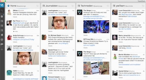 Ein geordneter Twitter-Stream verschafft Überblick. TweetDeck ist eines der beliebtesten Social-Media-Tools der Twitter-Community. (Screenshot: TweetDeck)