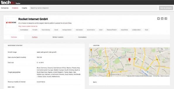 So sieht das aktuelle Profil von Rocket Internet aus. Startups und Investoren können sich selbst ein Profil anlegen und aktuelle Daten einpflegen. (Screenshot: Tech.eu Radar)