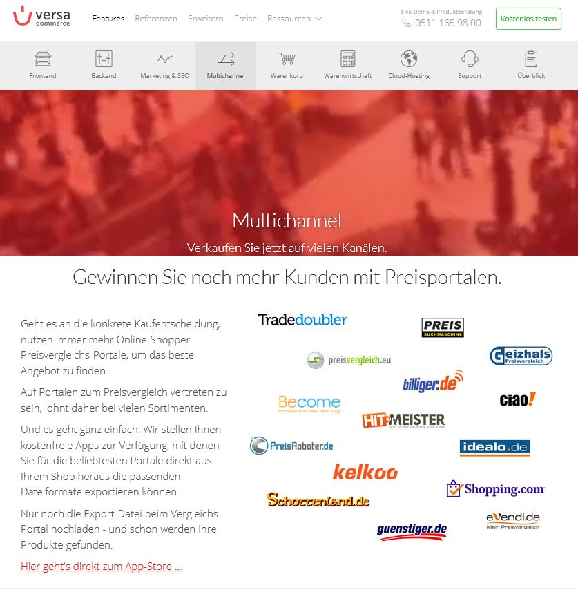 VersaCommerce unterstützt die Anbindung an 15 verschiedene Preisportale. (Screenshot: versacommerce.de)