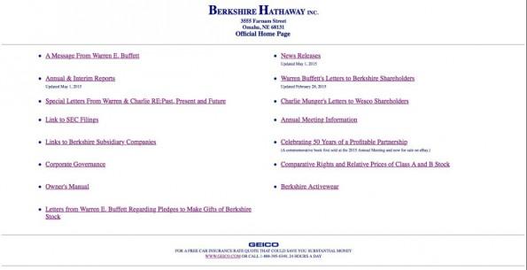Die Website Berkshire Hathaway ist von 1996 – und heute noch mit dem Design im Netz, obwohl die Firma eine ganze Abteilung für nichts als die Website anstellen könnte. (Screenshot: Berkshire Hathaway)