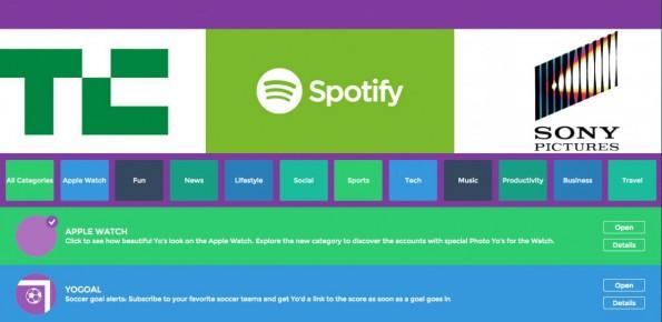 Kleiner Einblick in den Yo-Store. Dienste wie TechCrunch oder Spotify haben eigene Yo-Channel. (Screenshot: Yo-Store)