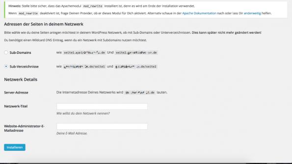 WordPress multisite Einrichtung