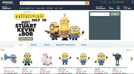 Der Minion-Shop bei Amazon wird auf den Kartons beworben und gehört zum Deal mit Universal.