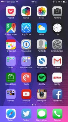 Mein aktueller Homescreen –ein Großteil der Apps verwende ich schon mindestens zwei Jahre (Bild: Luca Caracciolo)