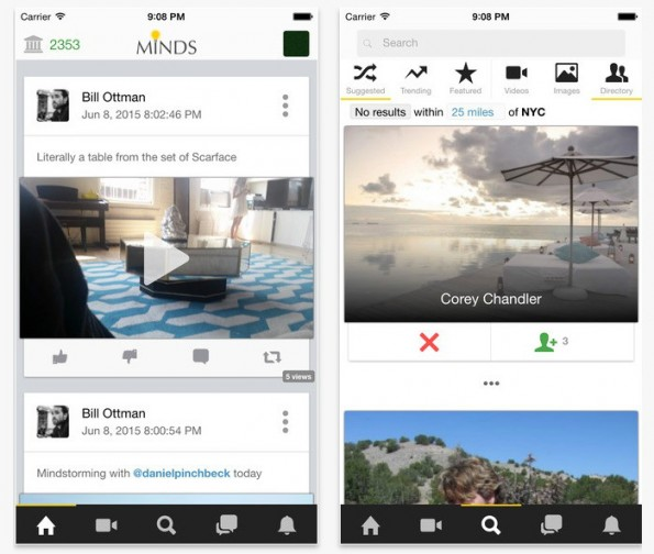 Minds – hier als iOS-App – will zur Facebook-Alternative werden. (Screenshot: Minds.com)