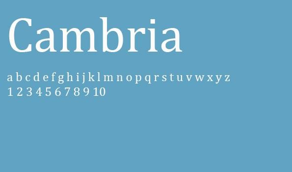 Die 5 besten Schriftarten für eine Bewerbung – Cambria.