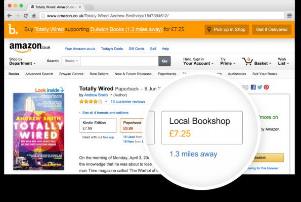 Browser-Erweiterung: Bookindy zeigt britischen Amazon-Nutzern, wo sie ihre Bücher auch im Laden kaufen könnten. (Screenshot: Bookindy)