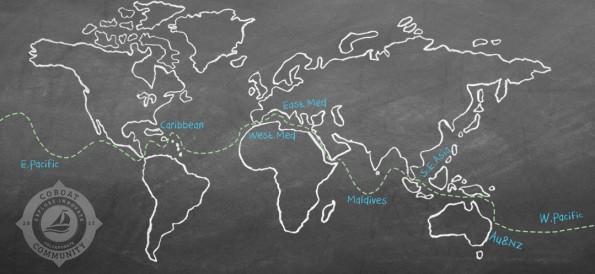In einem Jahr einmal um die Welt – Coboat bringt dich an die schönsten Strände. (Grafik: Coboat.org)