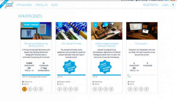 So sieht der Der weltweit erste Marktplatz für Patente aus. (Screenshot: t3n)