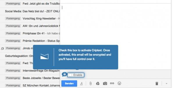 """Cryptext lässt dich E-Mails verschlüsseln – einfach den """"Enabled""""-Haken setzen. (Screenshot: t3n.de)"""