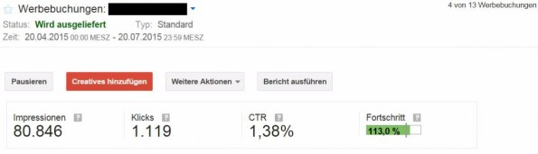 Die für den Erfolg einer Werbekampagne relevanten Kennzahlen (Ad-Impressions, Klicks, CTR,) sind in Echtzeit einsehbar und können detailliert an den Kunden reportet werden. (Screenshot: DFP)